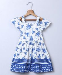 Beebay Cold Shoulder Flower Print Dress - Blue