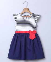Beebay Stripe With Red Bow Dress - Navy