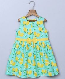 Beebay Lemon Print Waist Bow Dress - Green