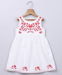 Beebay Floral Vine Embroidered Dress - White