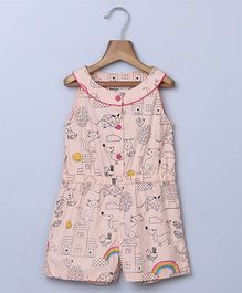 Beebay Rainbow Doddle Print Jumpsuit - Peach