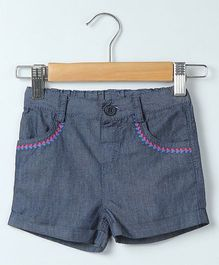 Beebay Embroidered Chambray Shorts - Blue