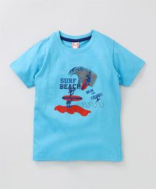 Moms Heart Surf Printed T Shirt - Sky Blue