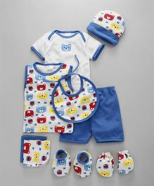 Montaly Clothing Gift Set of 9 Bear Print - Blue White