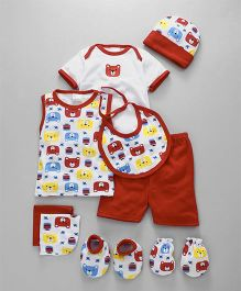 Montaly Clothing Gift Set of 9 Bear Print - Red White