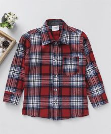 Snowflakes Checks Full Sleeve Shirt - Red