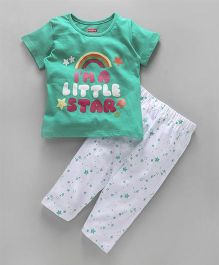 Babyhug Half Sleeves Night Suit Little Star Print - Aqua Green White