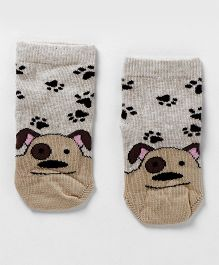 Mustang Ankle Length Socks Puppy Design - Light Brown