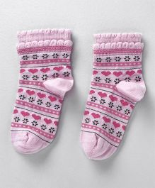 Mustang Ankle Length Socks Heart Design - Light Pink