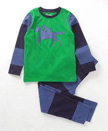 Ventra Nightwear Organic Cotton Set With Horse Print - Green