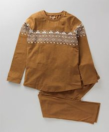 Ventra Aztec Print Organic Cotton Night Suit - Brown
