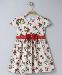Babyhug Cap Sleeves Frock Strawberry Print - Pink
