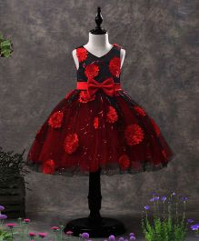 SAPS Sleeveless Party Wear Dress With Flower & Bow Applique - Red Black