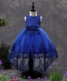 SAPS Sleeveless Party Wear Dress With Sequin Design & Rosette Corsage - Blue