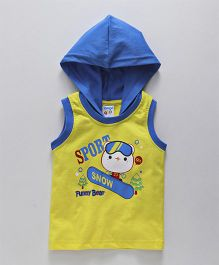 Tango Sleeveless Hooded T-Shirt Sport Snow Print - Yellow Blue