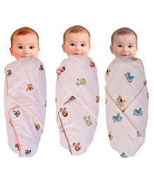 Mom's Home Organic Cotton Swaddle Wrapper Cum Playmat  Animal Print - Pack Of 3