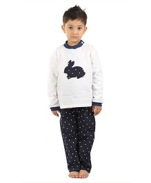 Kids Clan Rabbit Patch Night Suit - White & Navy Blue