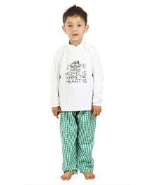 Kids Clan House Embroidered Night Suit - White & Green