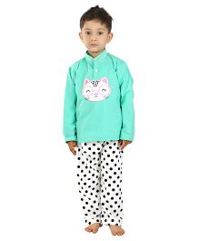 Kids Clan Cat Embroidered Night Suit - Mint Green & White