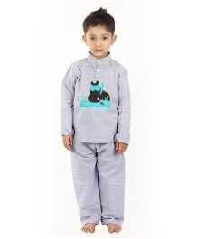 Kids Clan Hippo Patch Night Suit - Grey
