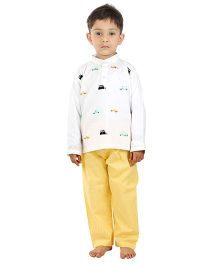 Kids Clan Car Embroidered Night Suit - White & Yellow