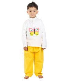Kids Clan Butterfly Embroidered Night Suit - White & Yellow