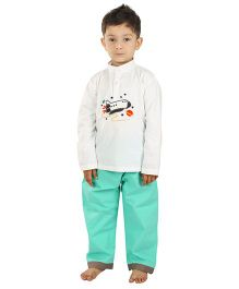 Kids Clan Aeroplane Patch Night Suit - White & Mint Green