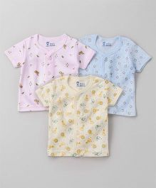 Pink Rabbit Half Sleeves Vests Pack of 3 - Pink Blue Yellow