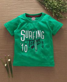 Babyhug Half Sleeves T-Shirt Surfing Team Print - Green