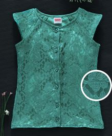 Babyhug Cap Sleeves Lace Detailed Party Wear Top - Green
