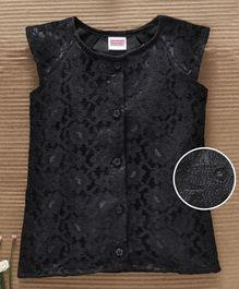 Babyhug Cap Sleeves Lace Detailed Party Wear Top - Black