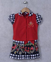 Enfance Core Skirt & Top Set - Red