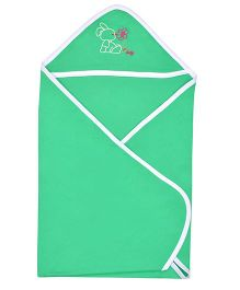 Lula Hooded Cotton Double Ply Blanket Bunny Design - Green