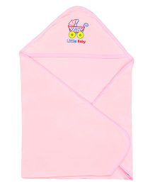 Lula Hooded Cotton Double Ply Blanket Pram Design - Light Pink