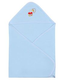 Lula Hooded Cotton Double Ply Blanket Sweet Love Design - Blue