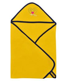 Lula Hooded Cotton Double Ply Blanket Heart Design - Yellow