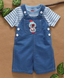Babyhug Dungaree With Striped Tee Snowman Patch - Blue