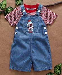Babyhug Dungaree With Striped Tee Snowman Patch - Red Blue