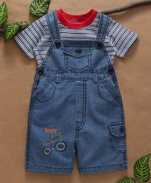 Babyhug Dungaree With Striped Tee - Light Blue