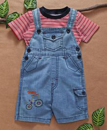 Babyhug Dungaree With Striped Tee - Red Light Blue