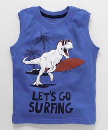 Doreme Sleeveless T-Shirt Dino Print - Blue