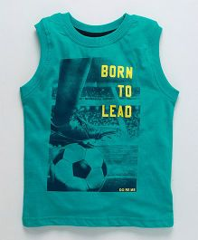 Doreme Sleeveless T-Shirt Born To Lead Print - Dark Green