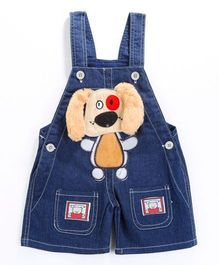Pre Order - Awabox Furr Ears Applique Dungaree Shorts - Blue