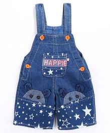 Pre Order - Awabox Happie Star Print Dungaree Shorts - Blue