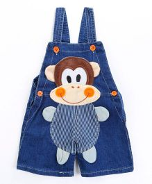 Pre Order - Awabox Monkey Applique Dungaree Shorts - Blue