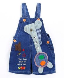 Pre Order - Awabox Dog With Star Applique Dungaree Shorts - Blue