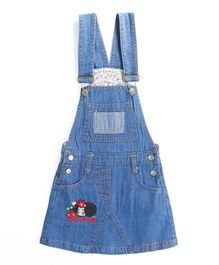 Pre Order - Awabox Plain Dungaree Styled Dress - Blue