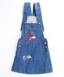 Pre Order - Awabox Mushroom Applique Dungaree Styled Dress - Blue