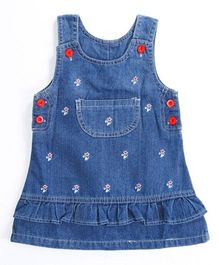 Pre Order - Awabox Small Print Dungaree Styled Dress - Blue