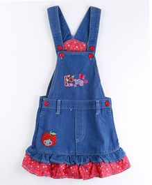 Pre Order - Awabox Dungaree Styled Dress With Frill - Blue
